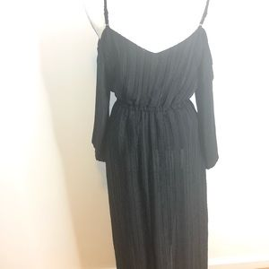 BB Dakota Black Button Down Cold Shoulder Dress